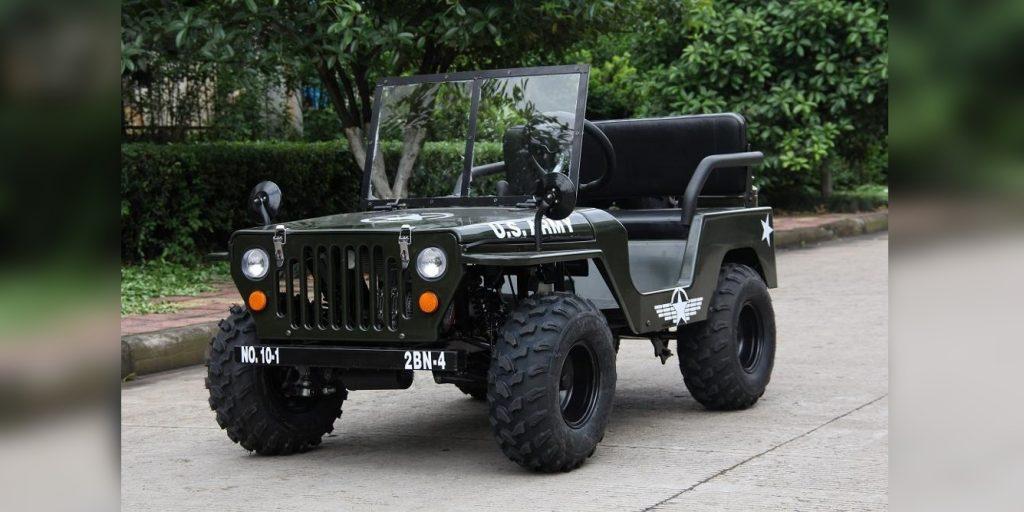 Alibaba Mini Jeep front 3/4 view