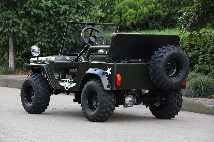 rear 3/4 view of Alibaba Mini Jeep