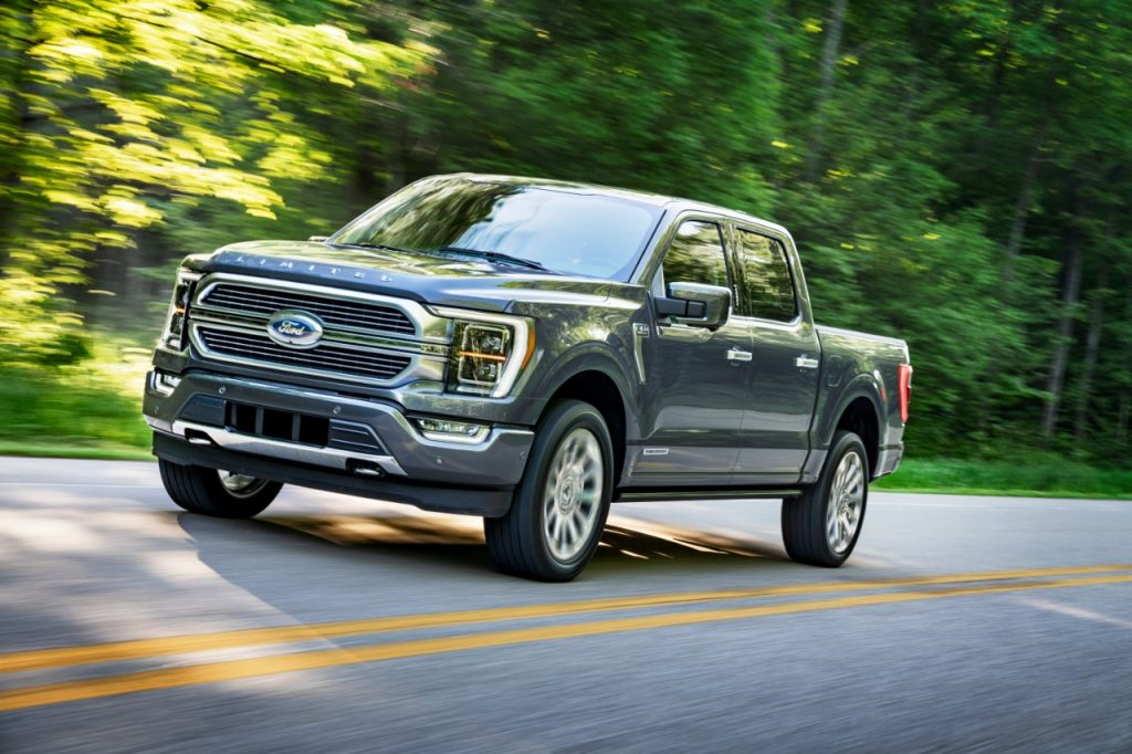 A 2021 Ford F-150 driving