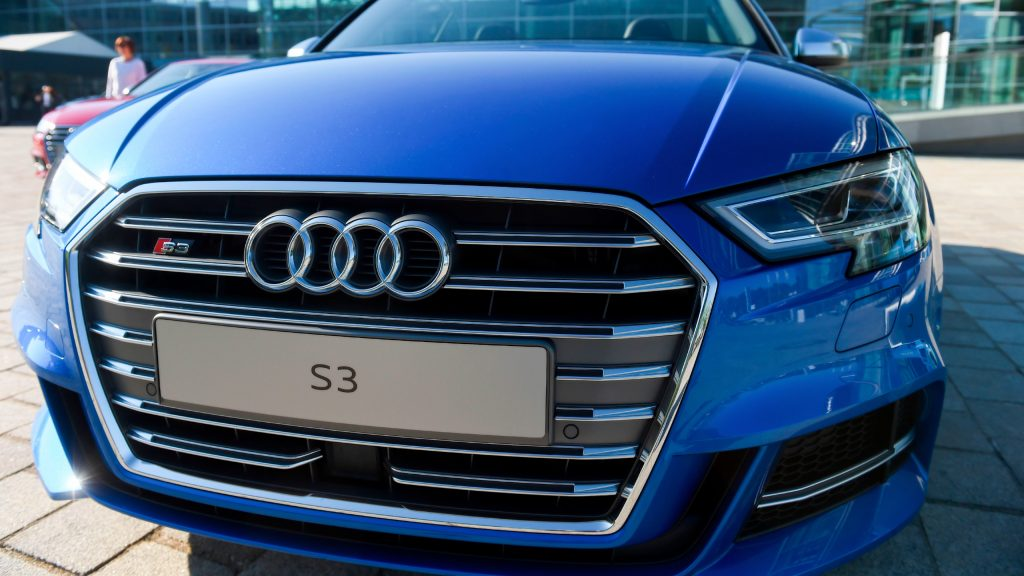 Blue Audi S3 car on the sidelines of the Audi AG annual general meeting in Ingolstadt, southern Germany, on May 9, 2018.