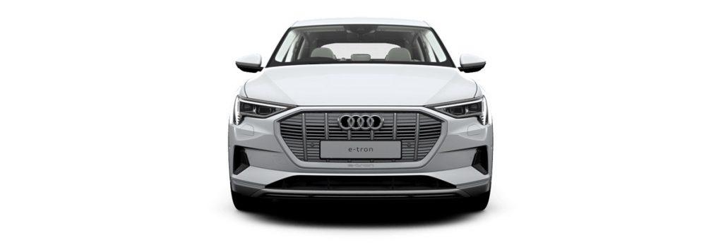 A white Audi e-tron. The e-tron uses virtual mirrors.