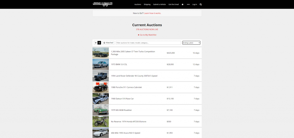 The online car autction site Bring-a-Trailer showcases listings for many different makes and models