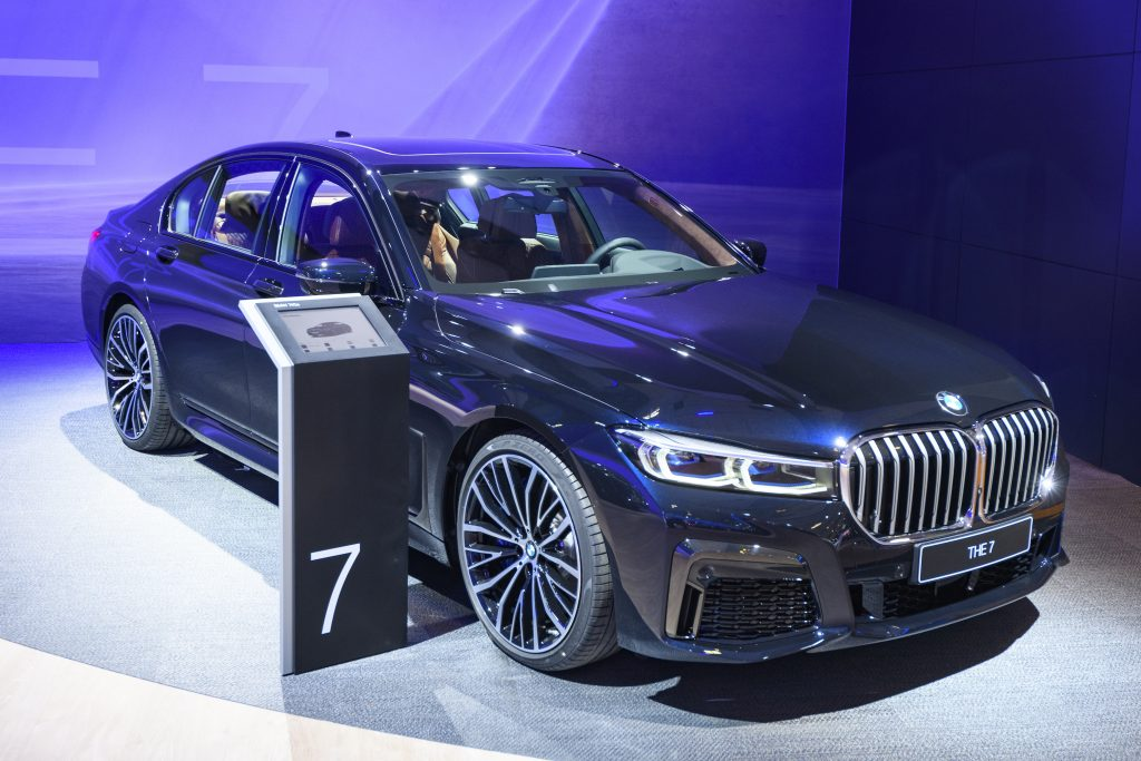 Black BMW 7 Series 745e plug-in hybrid luxury limousine on display at Brussels Expo