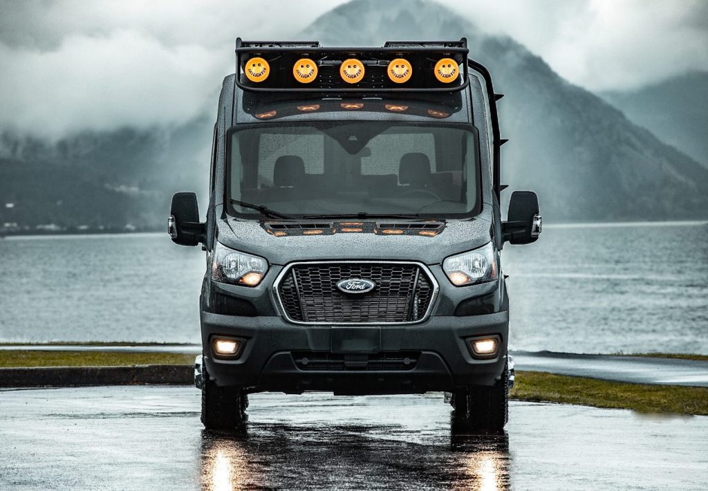 this 2020 Ford Transit camper van facing the camera with a rack of lights. This is probably one of the best RVs.