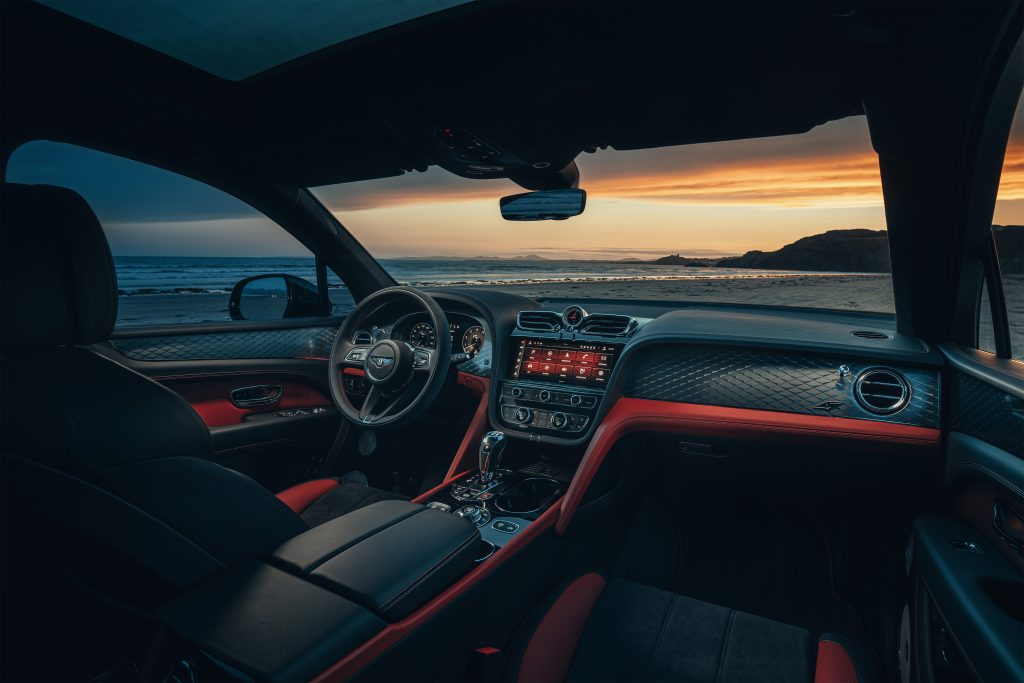 The interior of the Bentayga S in red and black leather