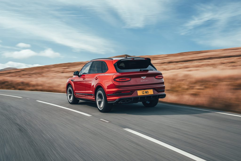 The rear of the Bentley Bentayga S in motion