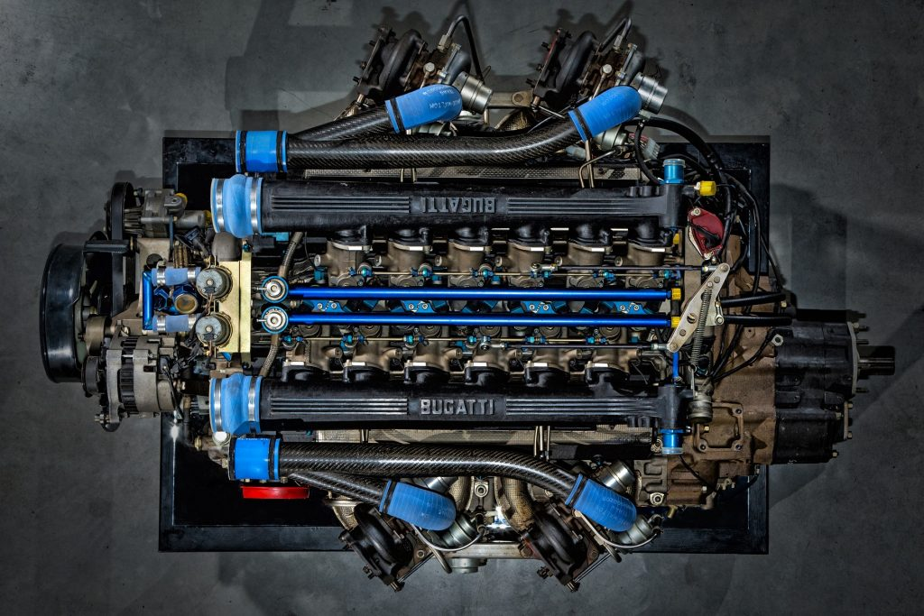 An overhead view of a the quad-turbo 3.5-liter V12 from a Bugatti EB110 SS