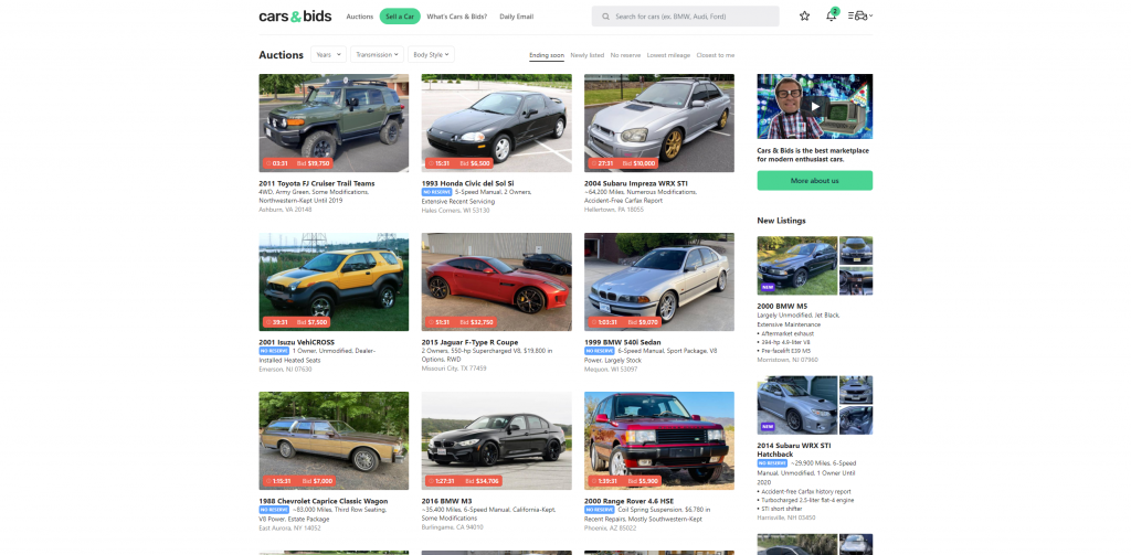 Current inventory shown on Cars & Bids' website