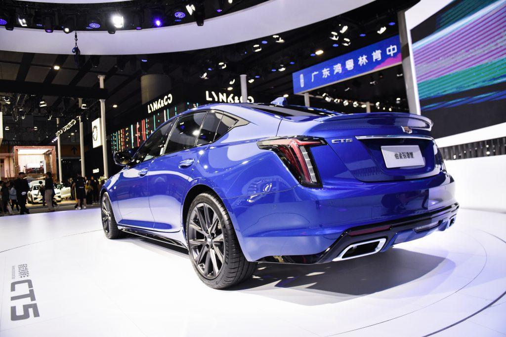A blue Cadillac CT5 car is on display during the 17th Guangzhou International Automobile Exhibition at China Import and Export Fair Complex
