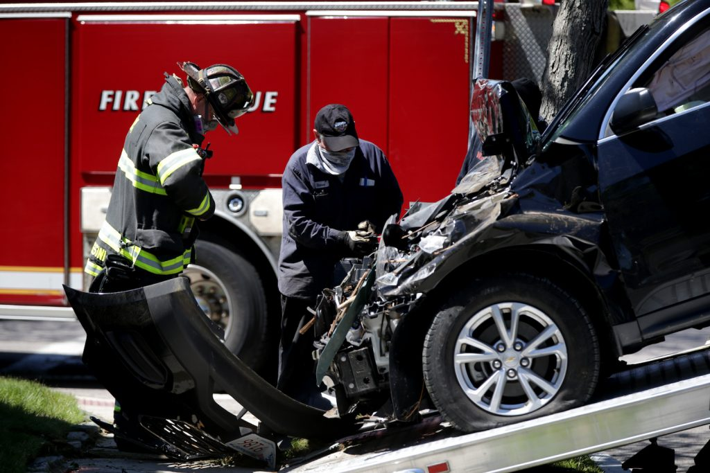 A car after an accident, slamming on the brakes could cause an accident