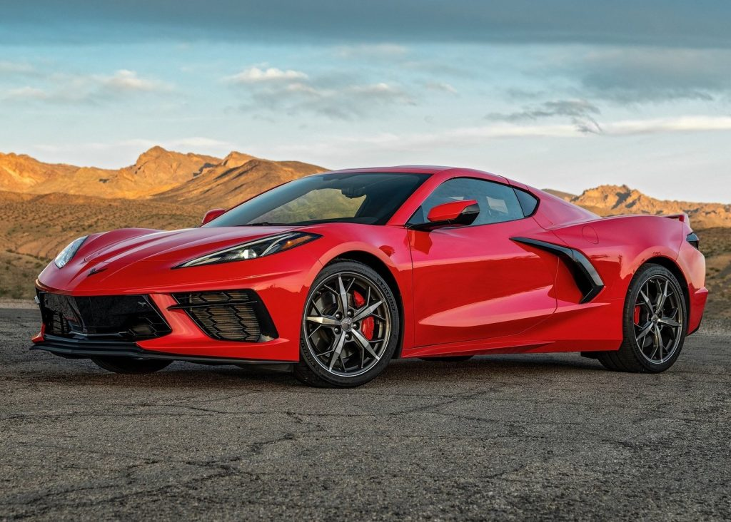 An image of a 2021 Chevrolet Corvette C8 parked outdoors.