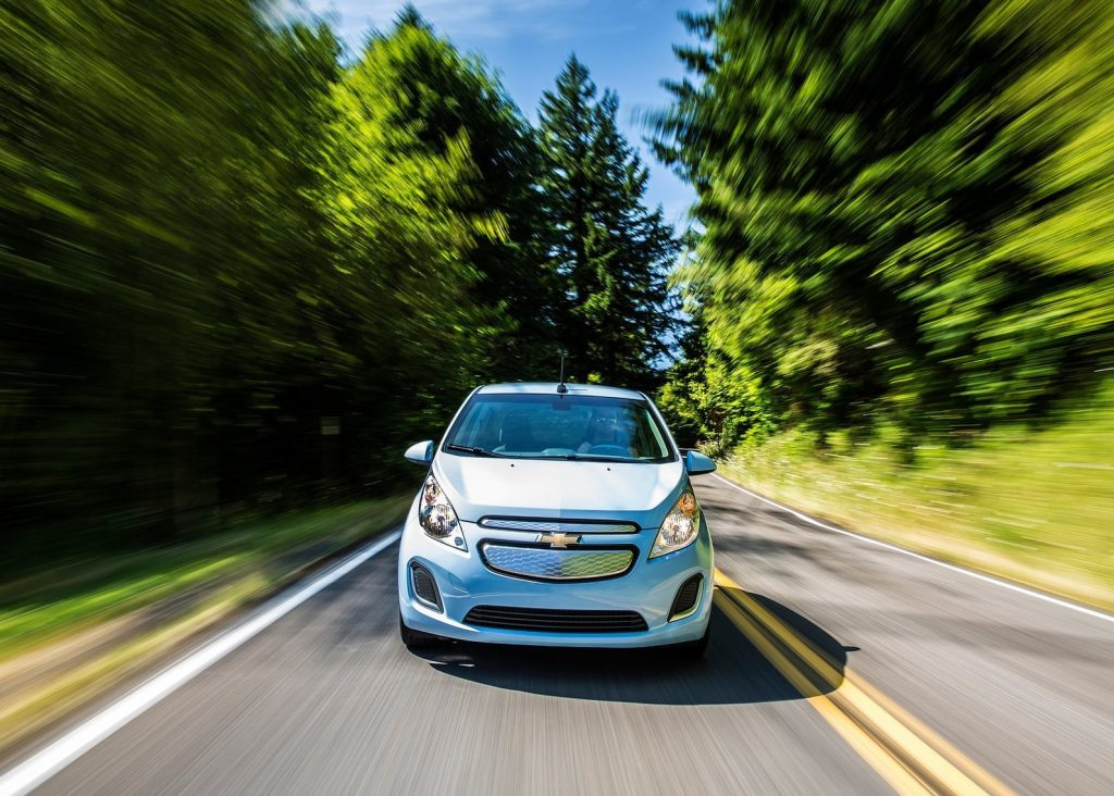 2014 Chevy Spark front shot driving fast