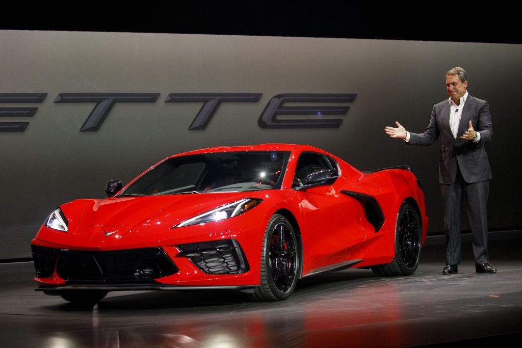 Mark Reuss, president of General Motors Co. (GM), speaks during an unveiling event for the GM red 2020 Chevrolet Corvette Stingray sports car in Tustin, California, U.S.