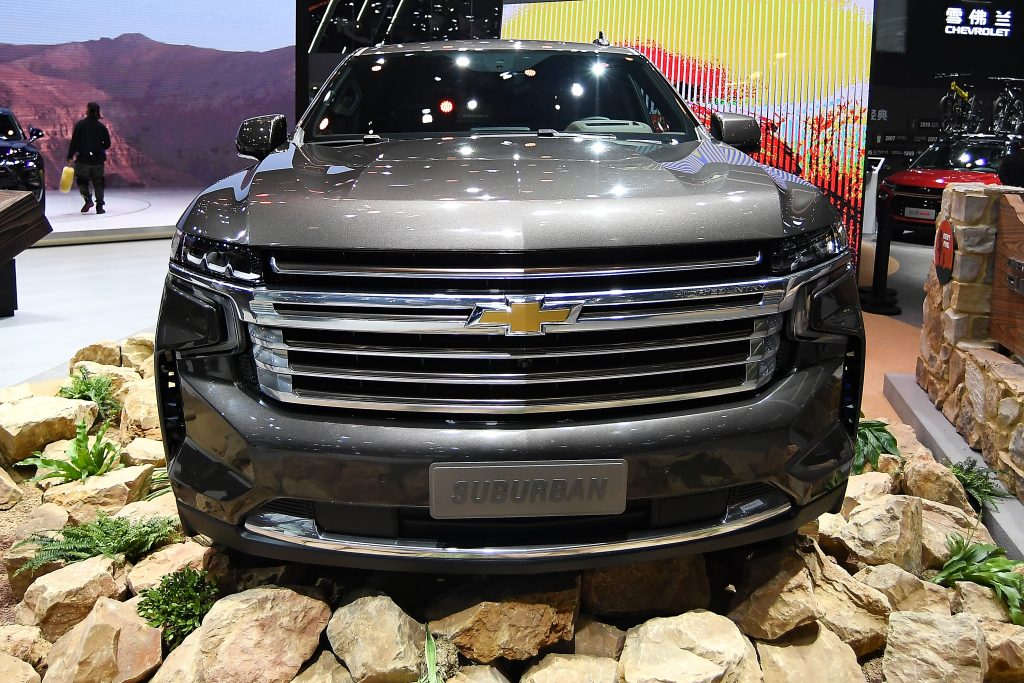 A Chevrolet Suburban car is on displayed during the 19th Shanghai International Automobile Industry Exhibition