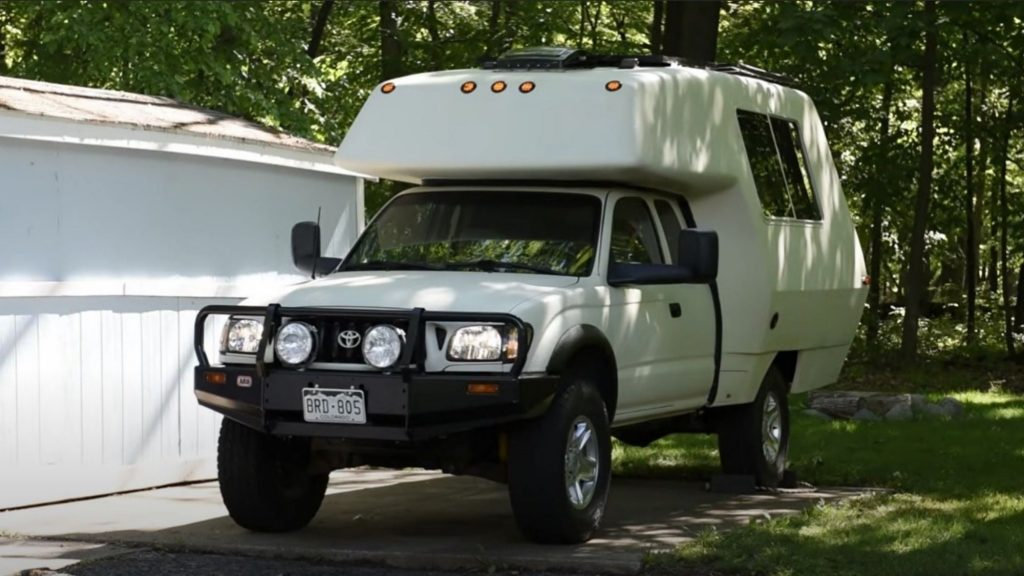 2001 Toyota Tacoma camper mashed up with a 1978 Toyota Chinook is the perfect camper truck