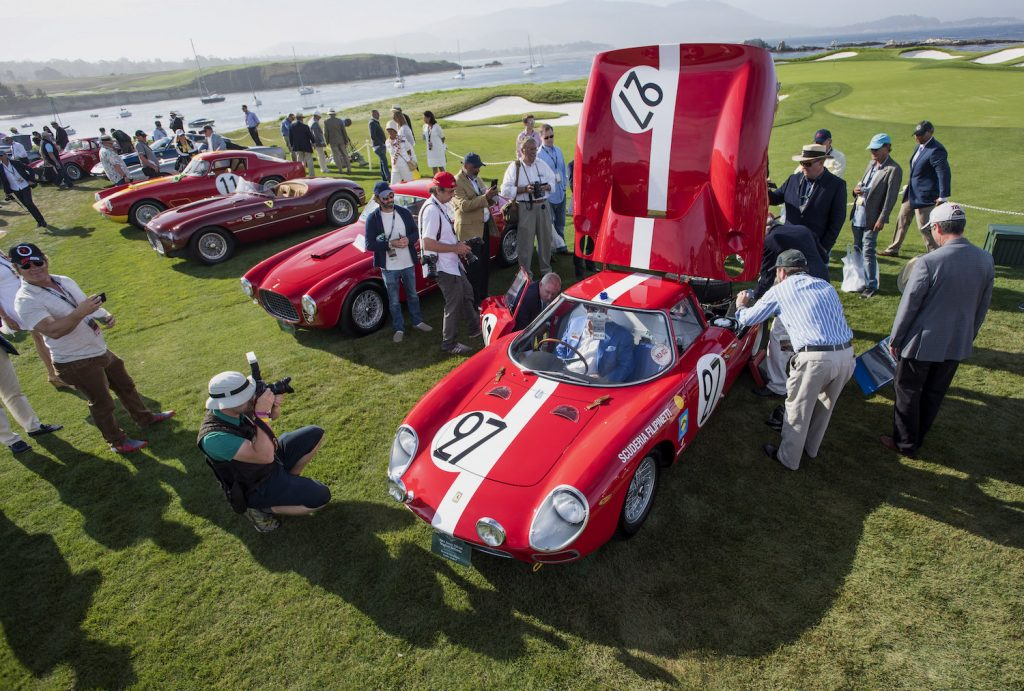 A lineup of classic cars at 2015 Pebble Beach Concours d'Elegance in Pebble Beach, if you're selling a classic car, you might consider selling it at a car show
