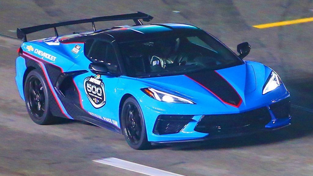 The 2021 Chevrolet Corvette Stingray Pace Car during the Daytona 500 on February 14, 2021 at Daytona International Speedway in Daytona Beach. Fl.