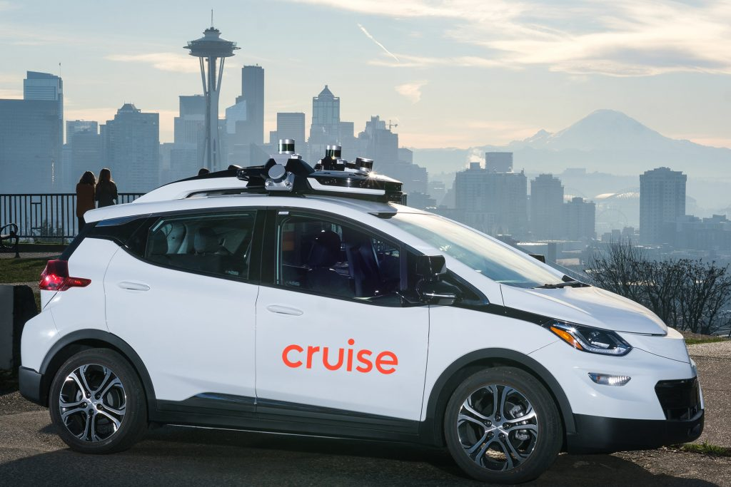A white Chevy Bolt-now driverless