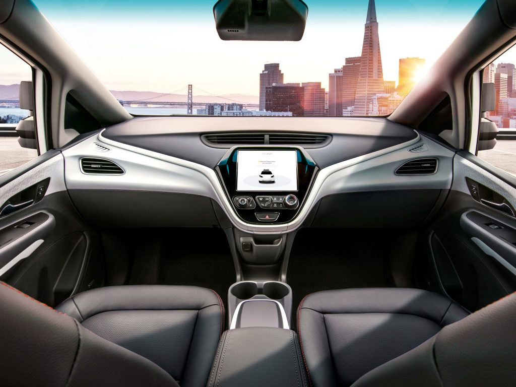 The interior of the driverless Cruise Taxi with no steering wheel | Cruise