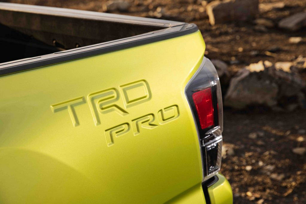 the new trd pro bed stamp in the side near the rear of the truck bed