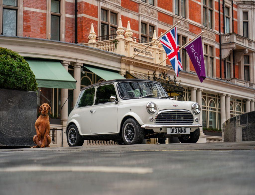 A white David Brown Automotive Mini Remastered on a London street
