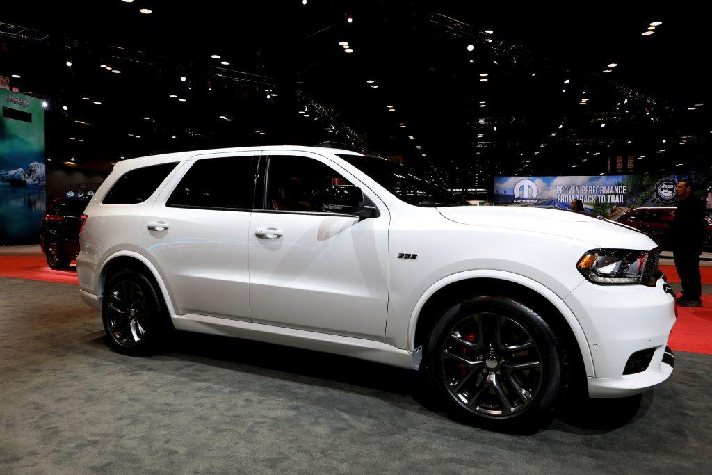A white Dodge Durango SRT SUV on display