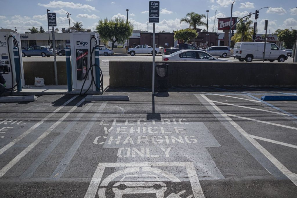 An EV charging station in California