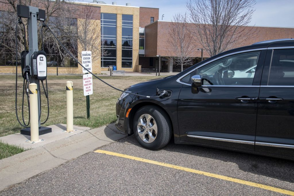 An EV parked at a Level 2 charging station in White Bear Lake, Minnesota, in America's Midwest