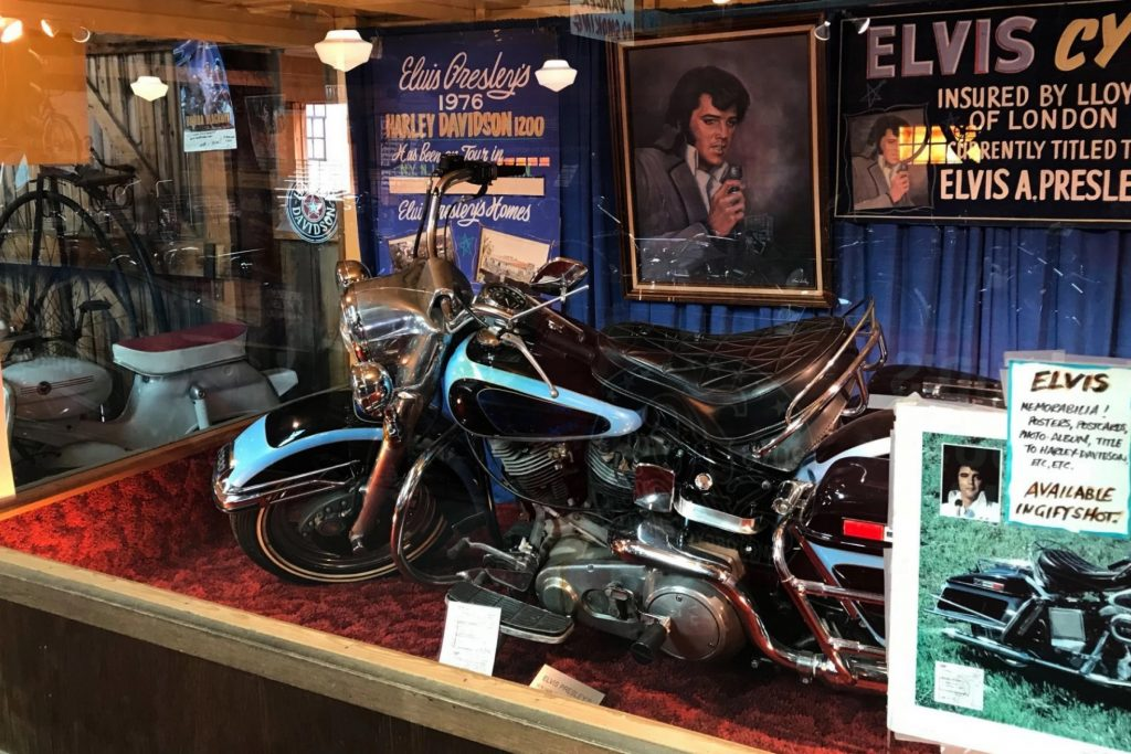 Elvis Presely's Harley-Davidson Electra Glide on display before becoming the one of the most expensive motorcycles in the world