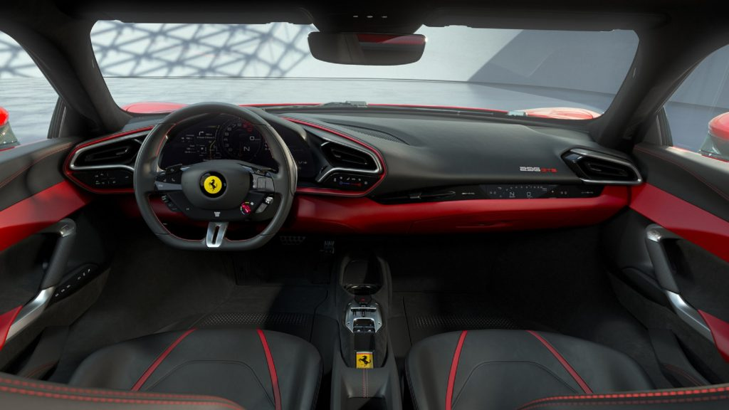 The red-and-black seats and dashboard of a Ferrari 296 GTB