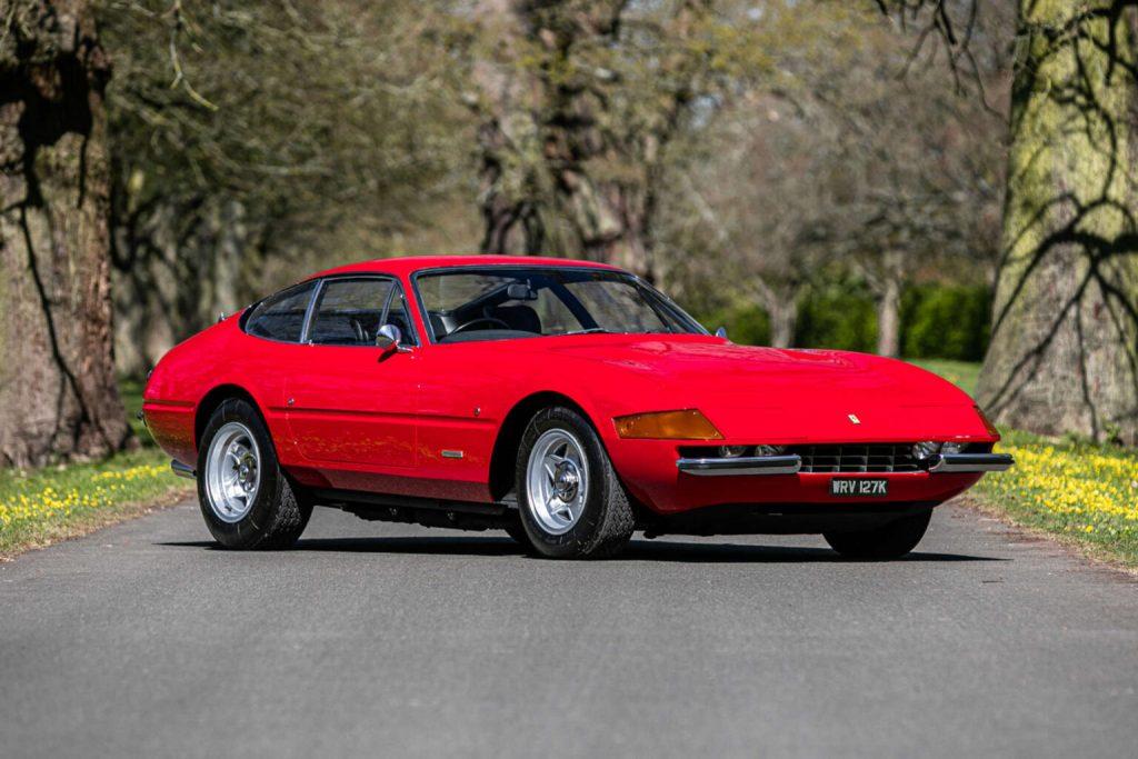 Elton John's vintage Ferrari Daytona 365 GTB/4 pictured on an empty road