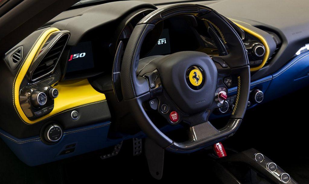 The interior of a Ferrari J50.