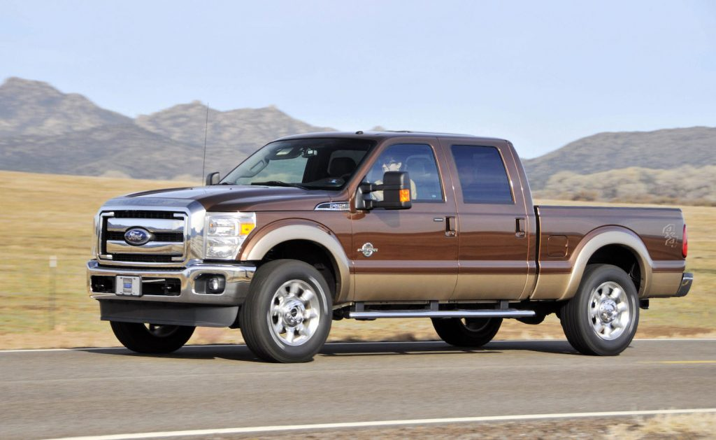 A 2011 Ford F-250 driving