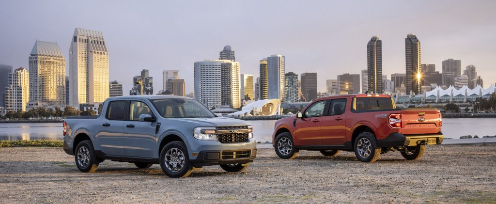 An image of a Ford Maverick outdoors, the brand's smallest new truck.