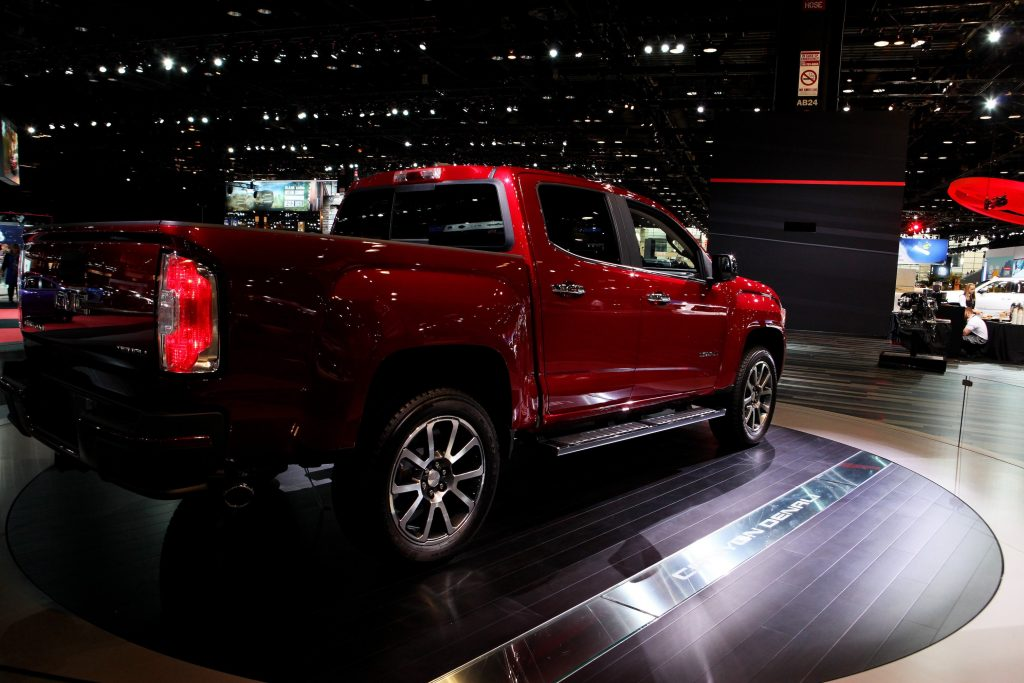 Red 2016 GMC Canyon Denali is on display at the 108th Annual Chicago Auto Show