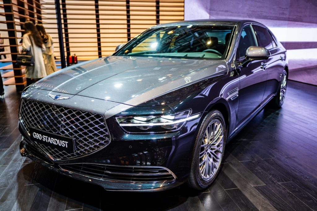 A Hyundai Genesis G90 Stardust sedan is on display during the 3rd China International Import Expo (CIIE) at the National Exhibition