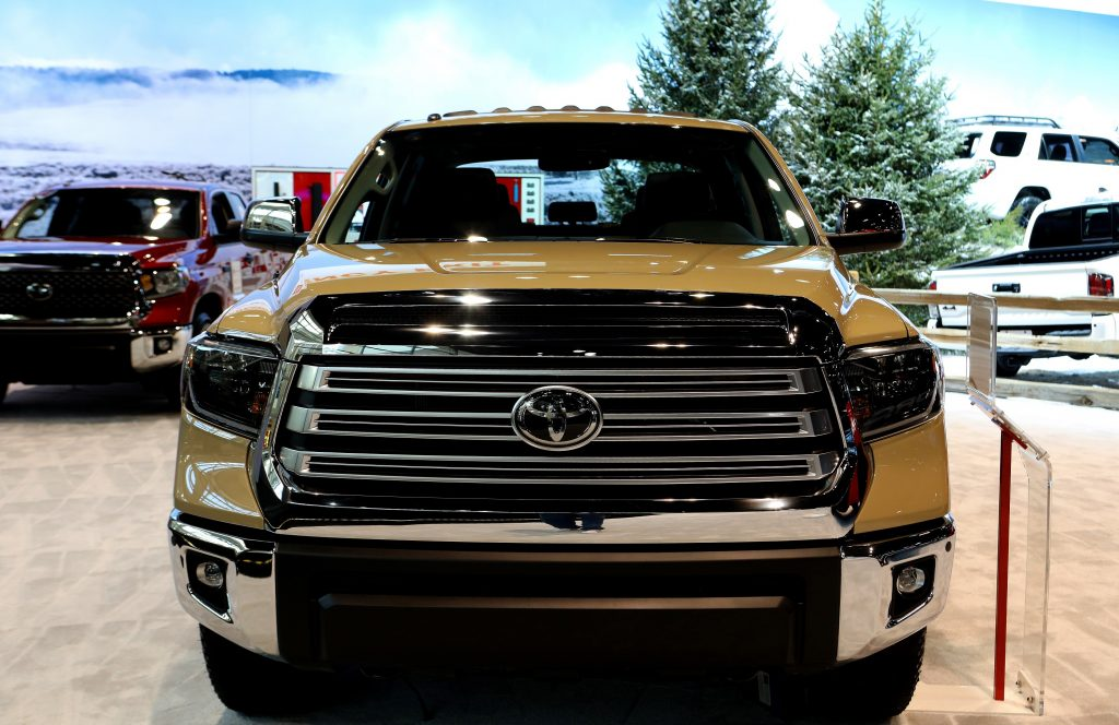 One of the more competetive full-size trucks: A desert tan Toyota Tundra