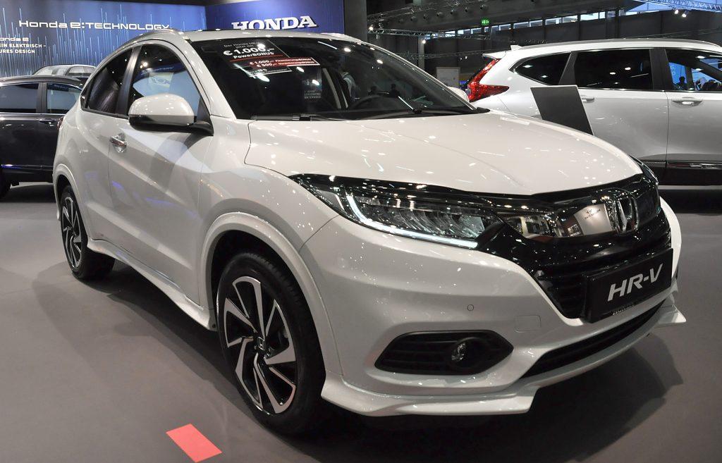 A white Honda HR-V on display in Vienna