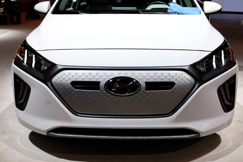The front of a white Hyundai Ioniq EV