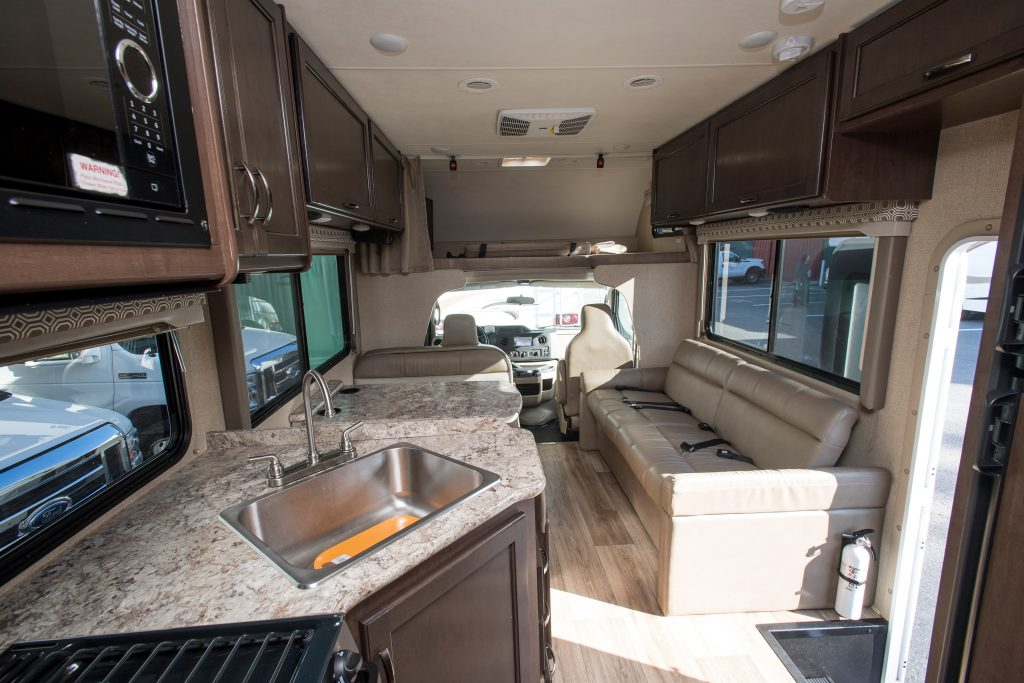 the interior of a four winds Class c motorhome RV