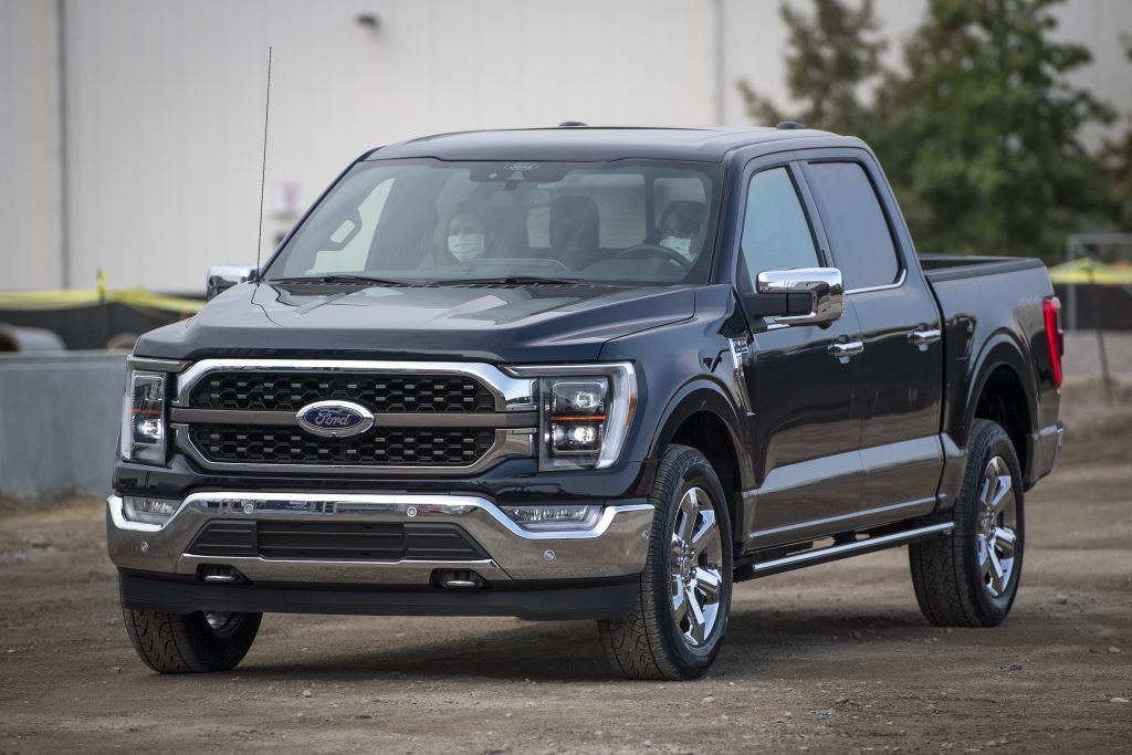 The Ford F-150 at a press event