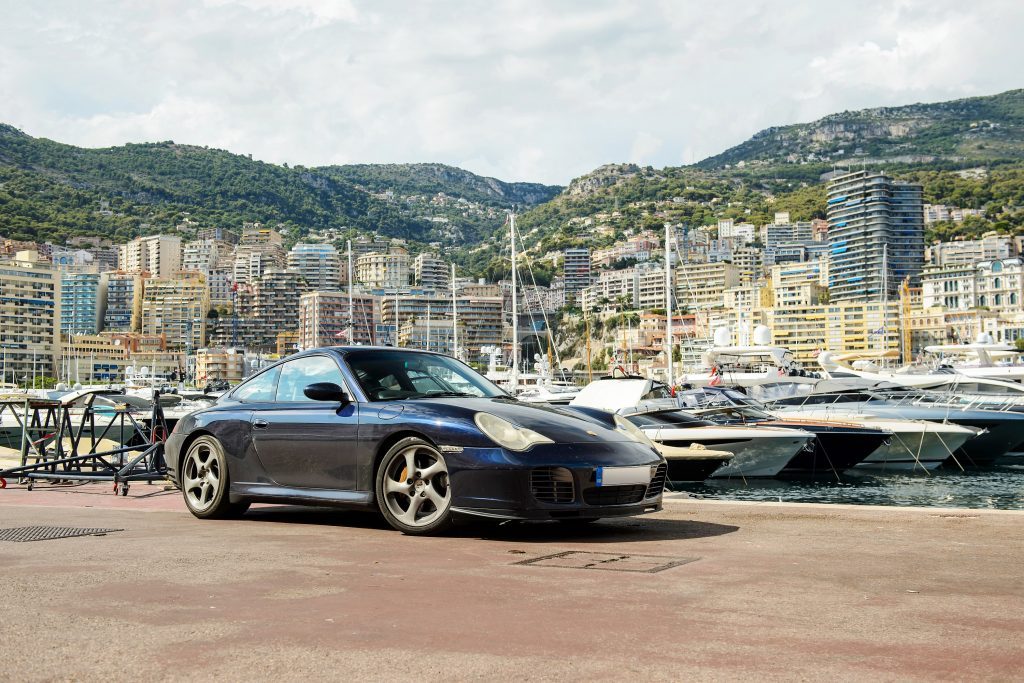 A bargain sports car under $25,000: The Porsche 911 photographed at the pier in Monaco