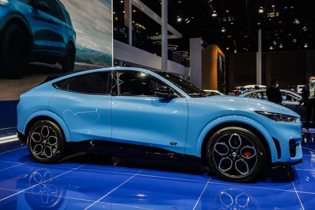The blue Mustang Mach e EV