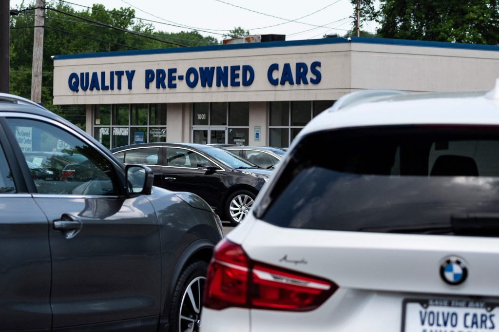 used cars are for sale at a dealership