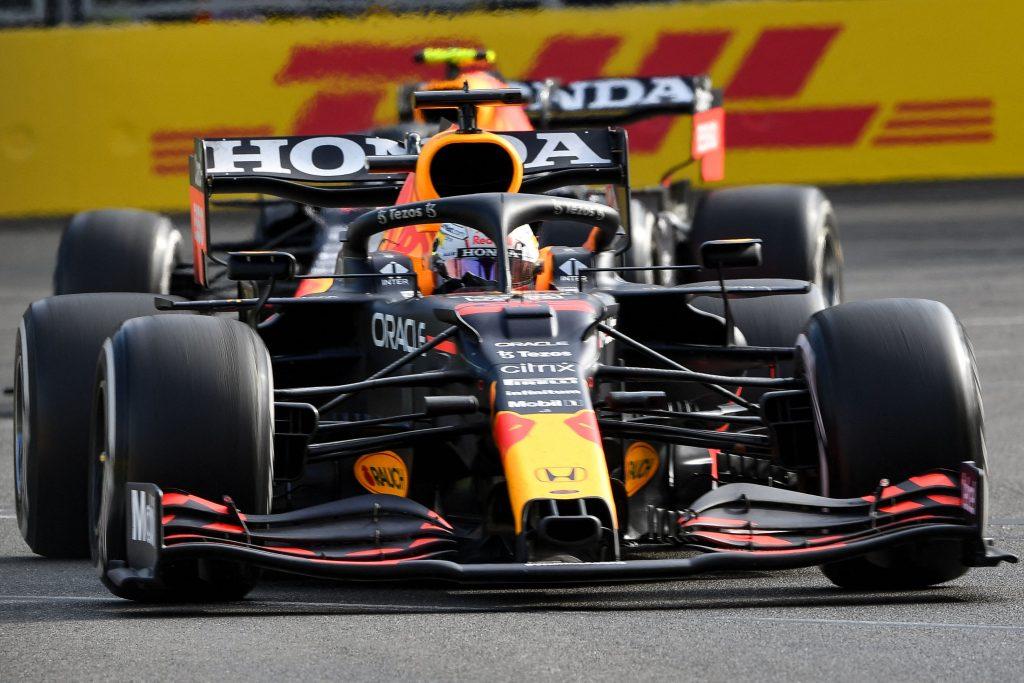 Verstappen's Red Bull mid-corner at Baku