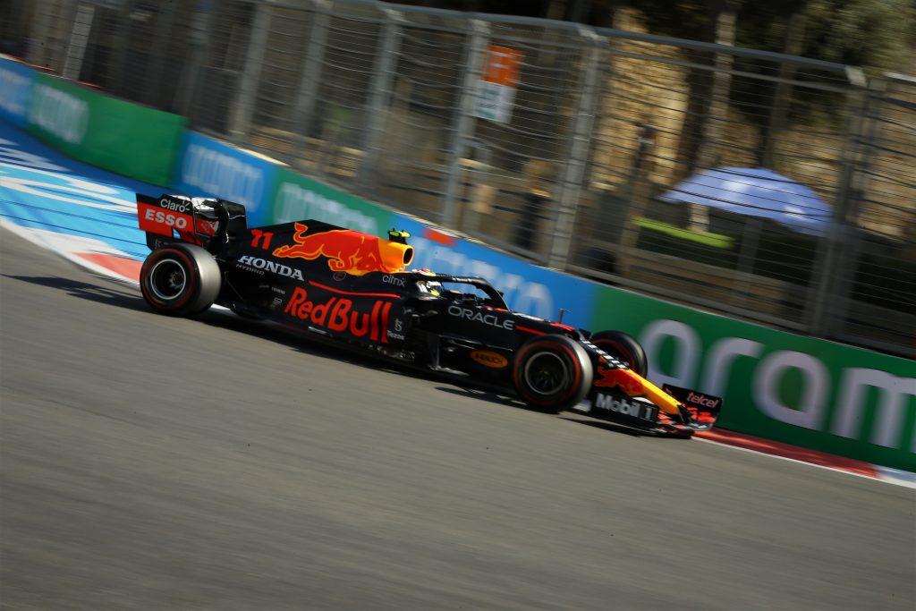 """Red Bull's Sergio """"Checo"""" Perez mid-corner in Azerbaijan"""
