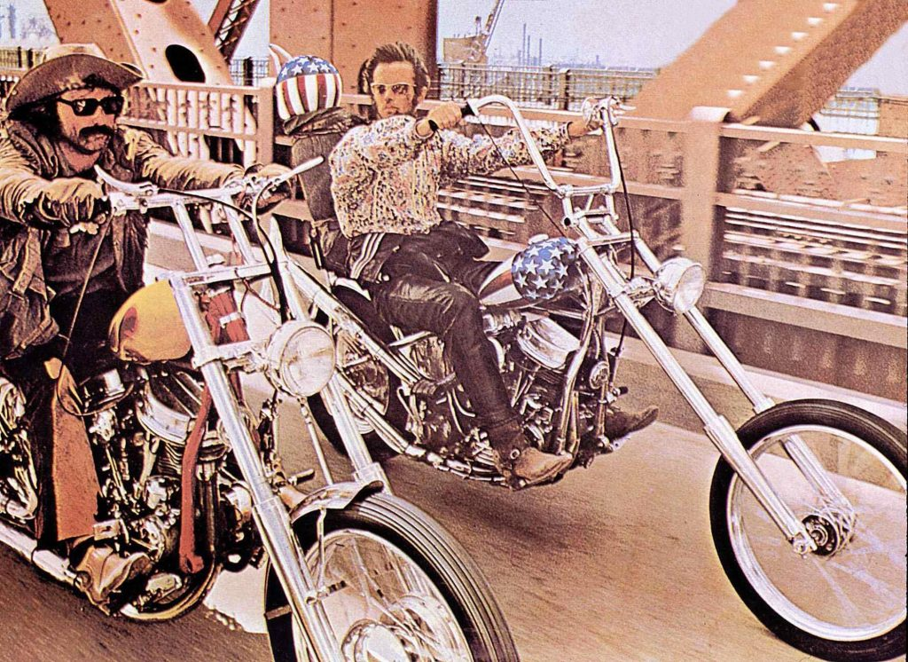 Peter Fonda and Dennis Hopper riding the Billy bike and Captain America in the film Easy Rider