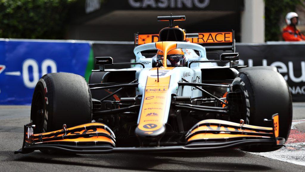 Daniel Riccardo's orange and blue Gulf-liveried Mclaren Formula 1 car