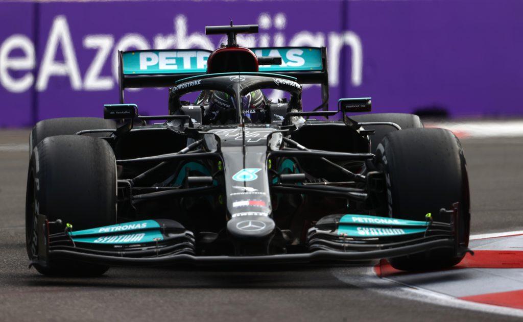 Lewis Hamilton's black and green Mercedes Formula 1 car in Azerbaijan