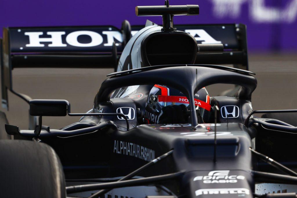 Formula 1's Yuki Tsunoda mid-corner